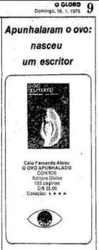 """Anúncio do livro """"O ovo apunhalado"""" no Jornal O Globo de 18 de janeiro de 1976."""
